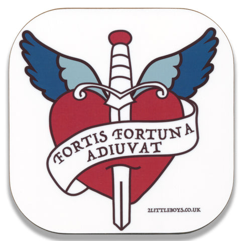 Fortune Favours The Brave - Latin Motto - Coaster