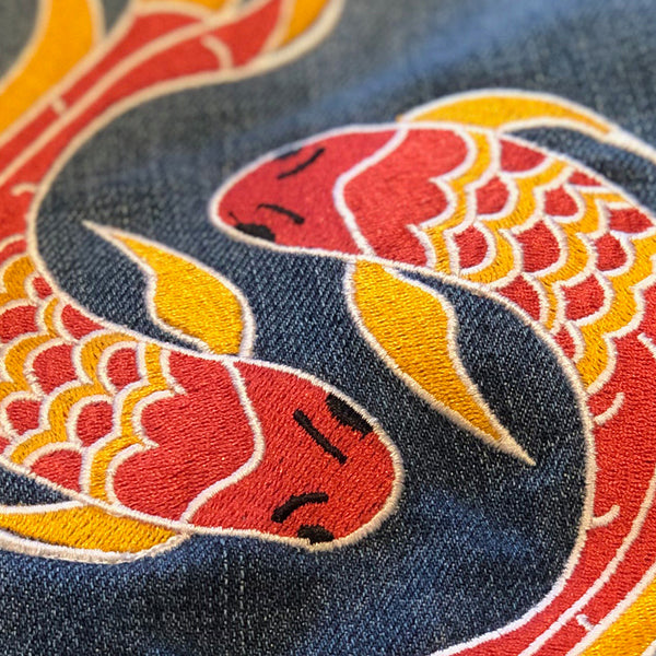 Beloved Person - Fully Embroidered Japanese Motto with Koi in Harmony - Vintage Levi's Denim Jacket