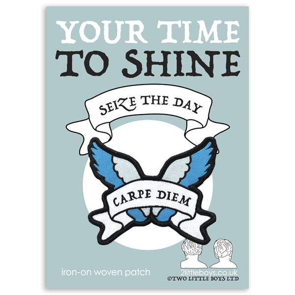 Seize the Day - Latin Motto - Iron-On Woven Patch