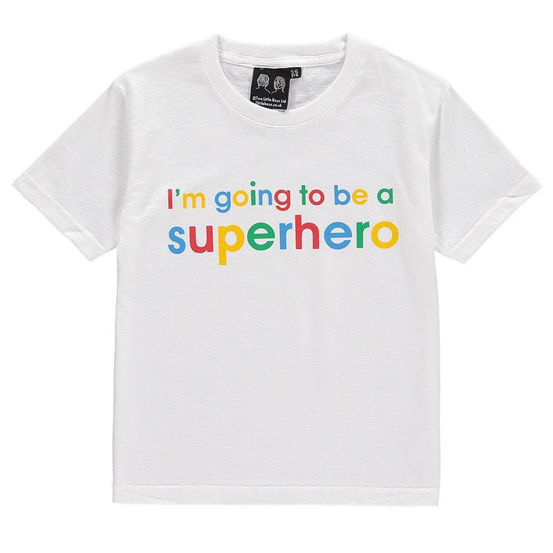 children's superhero slogan tee