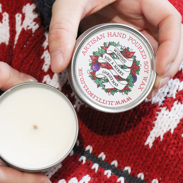 Wishing you a Merry Christmas Artisan Candle