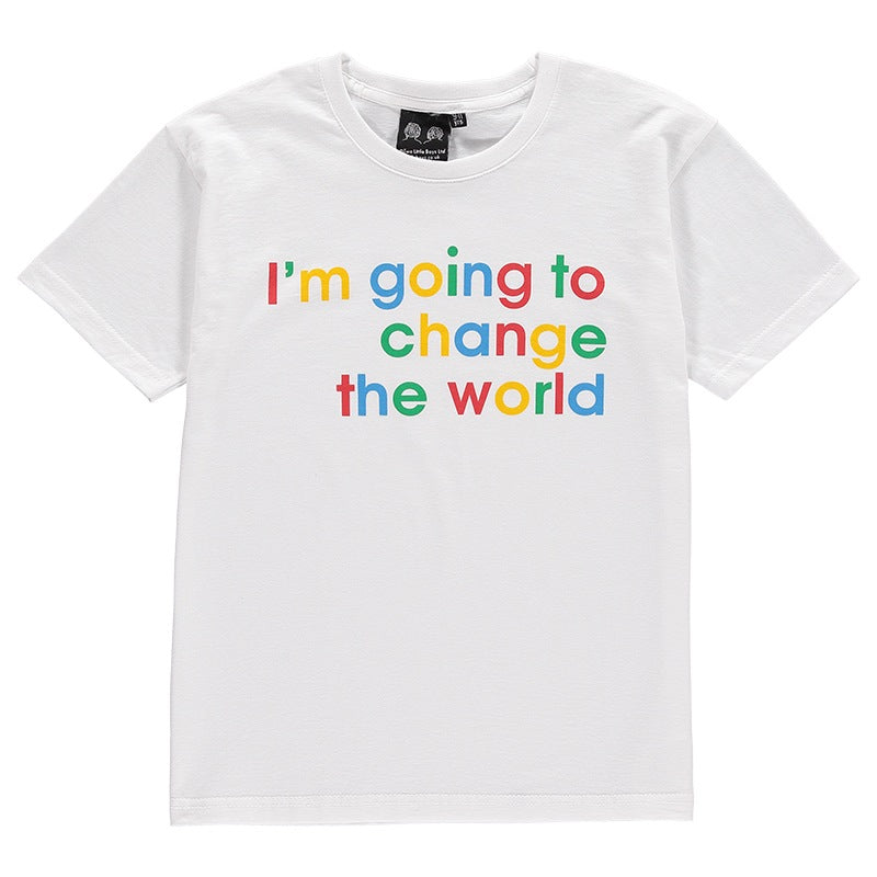children's change the world slogan tee