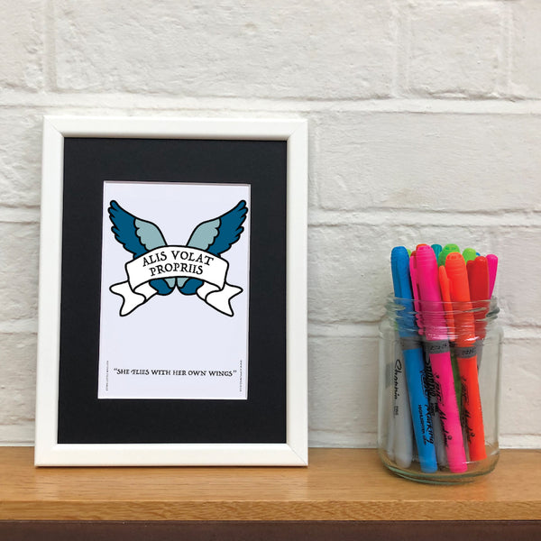 She Flies With Her Own Wings - Latin Motto - A5 Framed Artwork