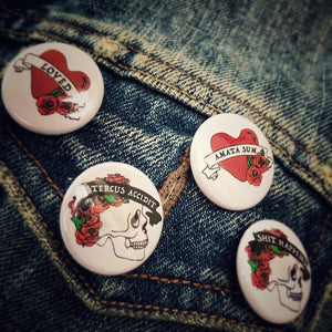 Set of Four Button Badges