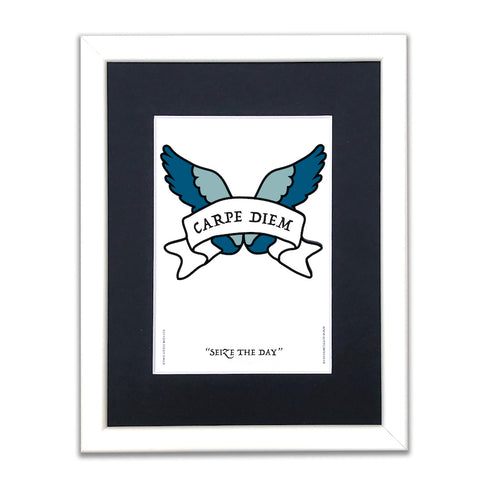 Seize the Day - Latin Motto - A5 Framed Artwork