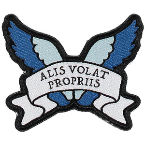 She Flies With Her Own Wings - Latin Motto - Iron-On Woven Patch