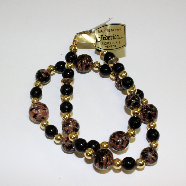 Black and Gold Federica Venetian Glass Beaded Necklace - Broadfield Flowers Florist Lincoln, Christchurch