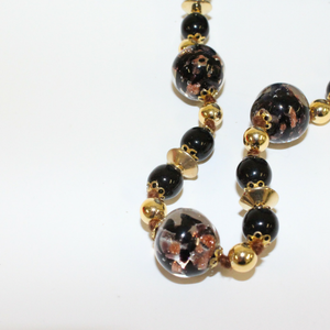 Black and Gold Long Federica Venetian Glass Beaded Necklace - Broadfield Flowers Florist Lincoln, Christchurch