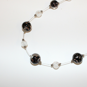 Black and White Beaded Venetian Glass Necklace - Broadfield Flowers Florist Lincoln, Christchurch