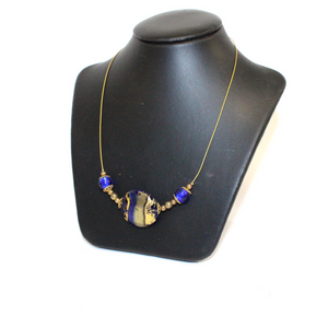 Blue and Gold Bead Venetian Glass Necklace - Broadfield Flowers Florist Lincoln, Christchurch