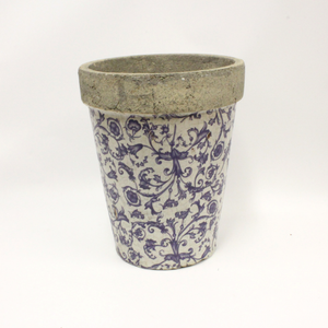 Blue Patterned Cement Pot - Broadfield Flowers Florist Lincoln, Christchurch