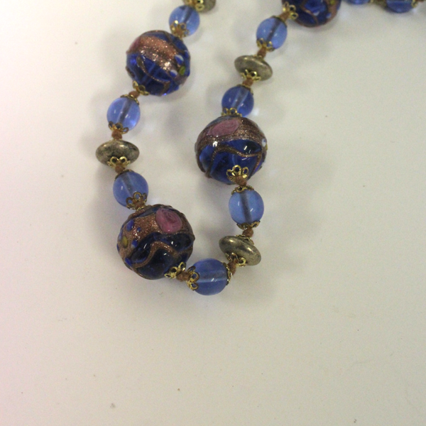 Blue Venetian Glass Beaded Necklace Long - Broadfield Flowers Florist Lincoln, Christchurch
