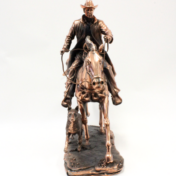 Bronze Male Rider and Dog - Broadfield Flowers Florist Lincoln, Christchurch