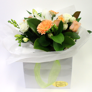 Peachy Pastel Posy in a Water Filled Handbag - Broadfield Flowers Florist Lincoln, Christchurch