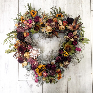 Love Dried Wreath - Broadfield Flowers Florist Lincoln, Christchurch