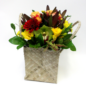Textured Posy in a Flax Handbag - Broadfield Flowers Florist Lincoln