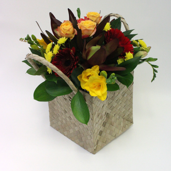 Textured Posy in a Flax Handbag - Broadfield Flowers Florist Lincoln, Christchurch