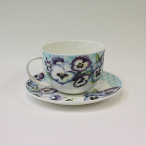 Roy Kirkham Pansy Garden Cup and Saucer - Broadfield Flowers Florist Lincoln