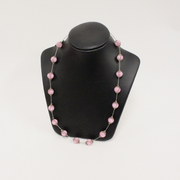 Pink Venetian Glass Beaded Necklace - Broadfield Flowers Florist Lincoln, Christchurch