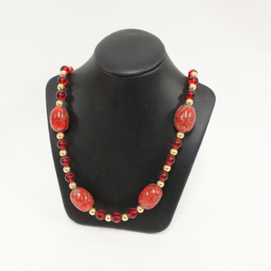Red Long Venetian Glass Beaded Necklace - Broadfield Flowers Florist Lincoln, Christchurch