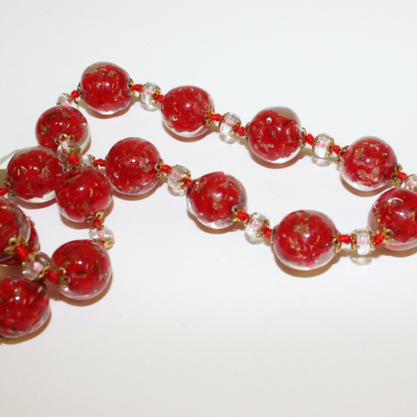 Red Beaded Venetian Glass Necklace - Broadfield Flowers Florist Lincoln, Christchurch