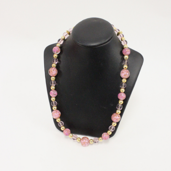 Pink and Gold Venetian Glass Beaded Necklace - Broadfield Flowers Florist Lincoln, Christchurch
