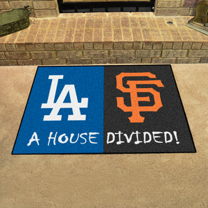 "MLB - Dodgers - Giants House Divided Rug 33.75""x42.5"""