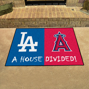 "MLB - Dodgers - Angels House Divided Rug 33.75""x42.5"""