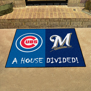 "MLB - Cubs - Brewers House Divided Rug 33.75""x42.5"""