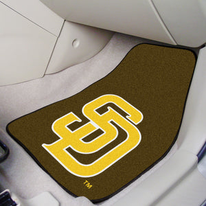 "MLB - San Diego Padres Brown/Yellow 2-pc Carpeted Car Mats 17""x27"""