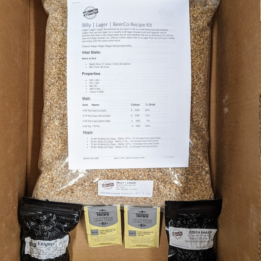 Billy - Lager - BeerCo All Grain Recipe Kit