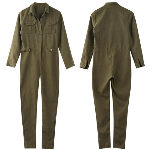 Long Sleeve Army Green Jumpsuit