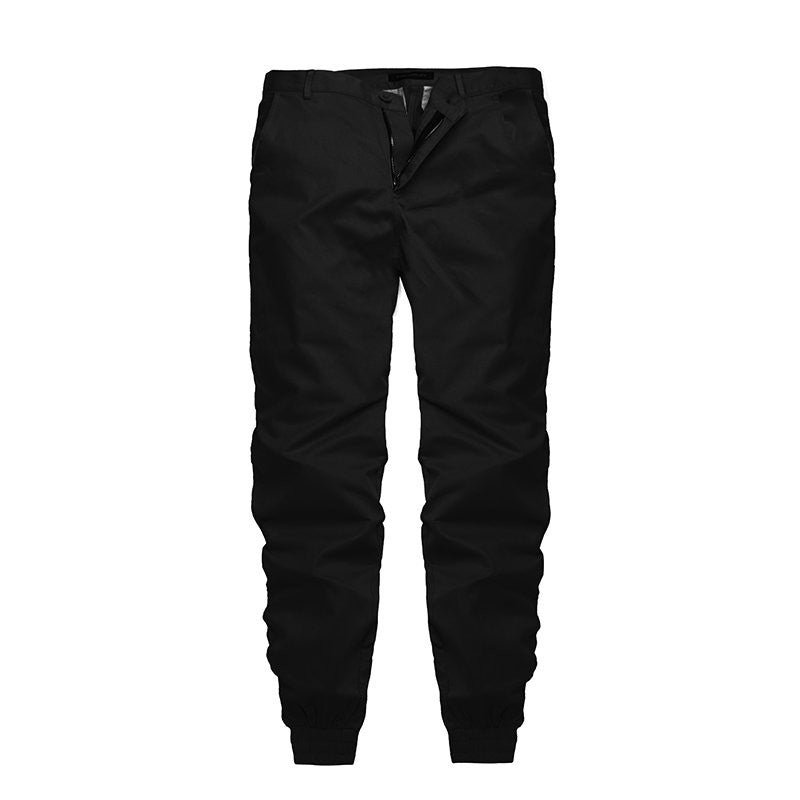 Autumn Spring Mens Hip Hop Casual chinos Pants 100% Cotton Trousers High Quality Slim Fit Plain Joggers Sweatpants Elastic Cuff