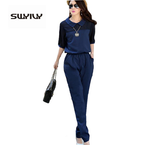 Elegant Blue Summer Jumpsuit
