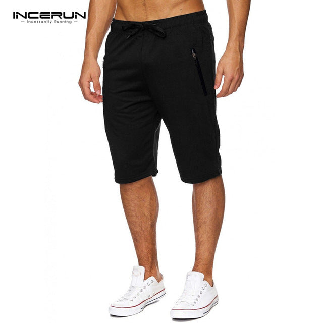 2018 Men's Short Trousers Man Shorts Casual Knee-Length Gyms Mens Shorts Sweatpants Fitness Man Workout Cotton Zipper Shorts