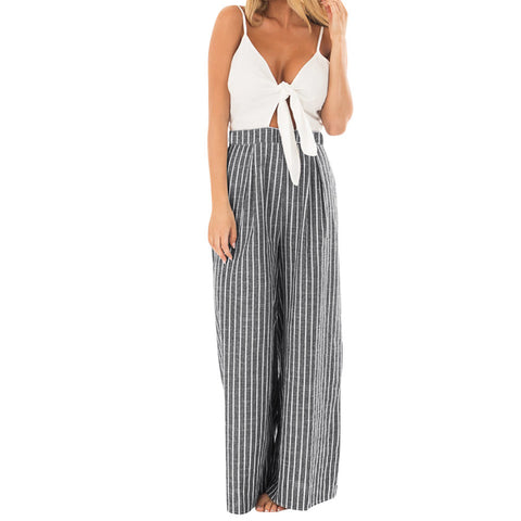 Women Bowknot Sleeveless Striped Print Jumpsuit Casual Clubwear Wide Leg Pants