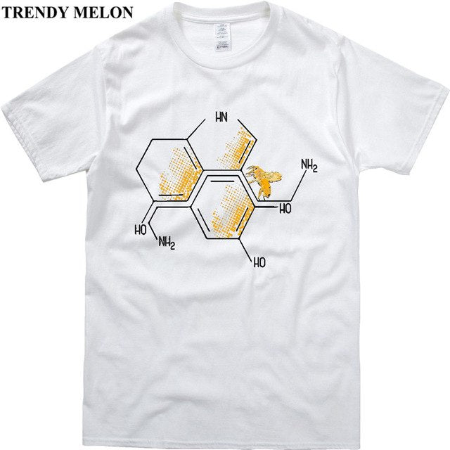 Chemistry Funny T Shirt Men Serotonin and Dopamine Chemical Formulas Cotton Tees