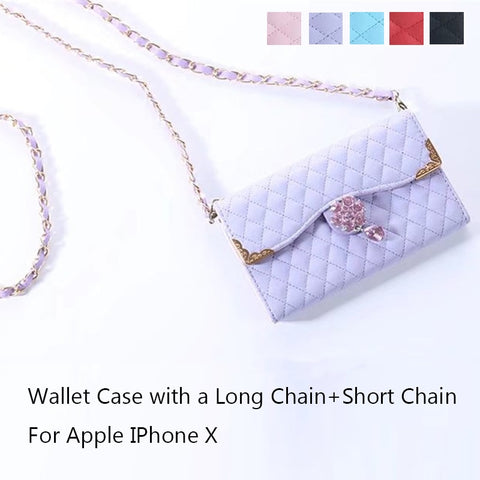 Luxury Bag Diamond Design Leather Case For Apple IPhone X 7 8 Plus Women shoulder bag Flip Purse Cover For Iphone6S Wallet Case