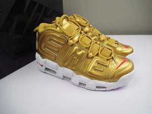 SUPREME X NIKE AIR MORE UPTEMPO Gold