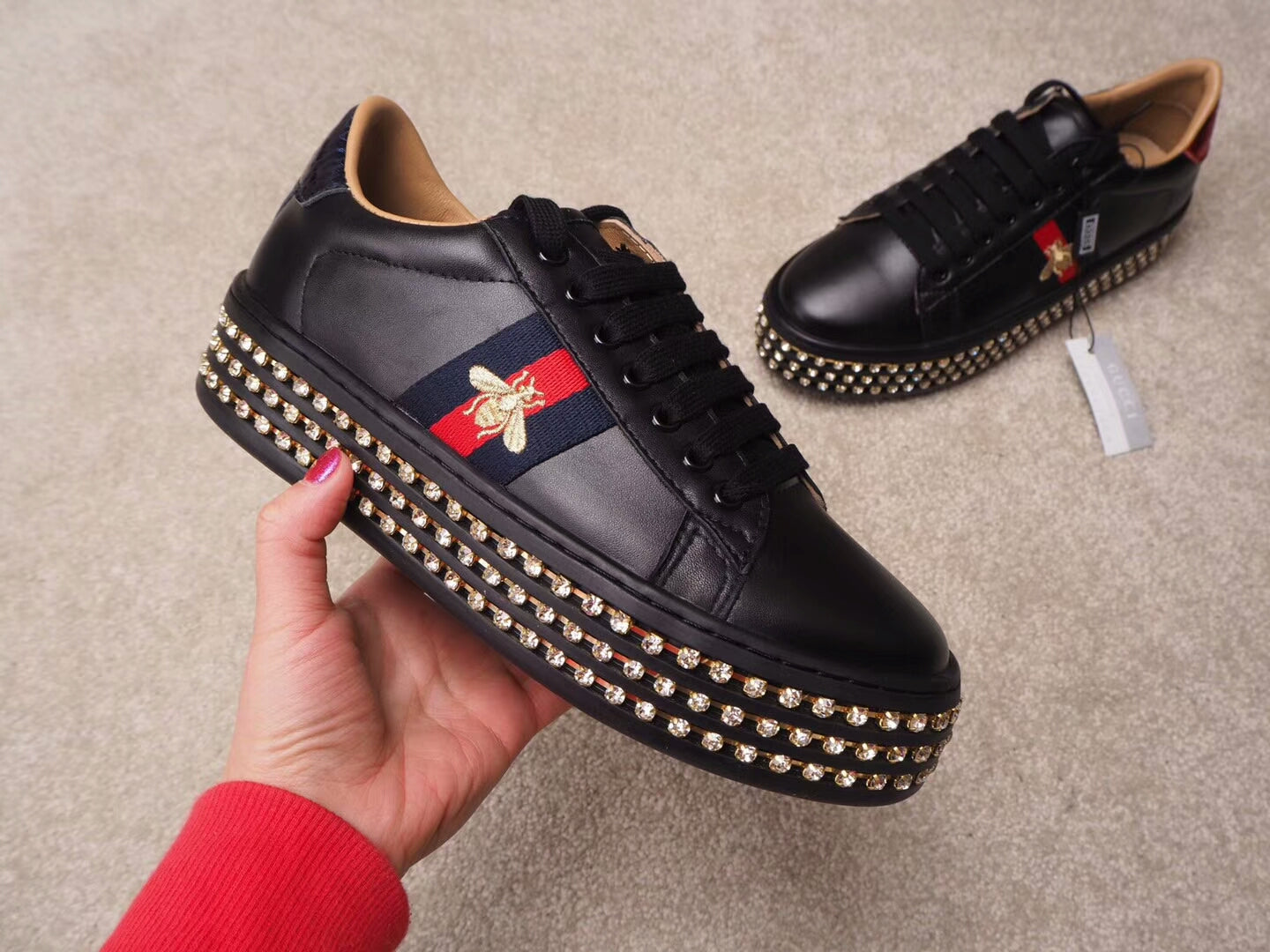 GUCCI ACE CRYSTAL Black