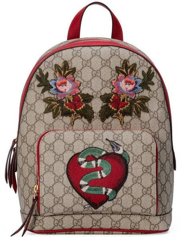 GUCCI EMBROIDERED LEATHER VINTAGE BACKPACK