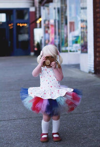Watercolor Heart Valentine Tutu Skirt