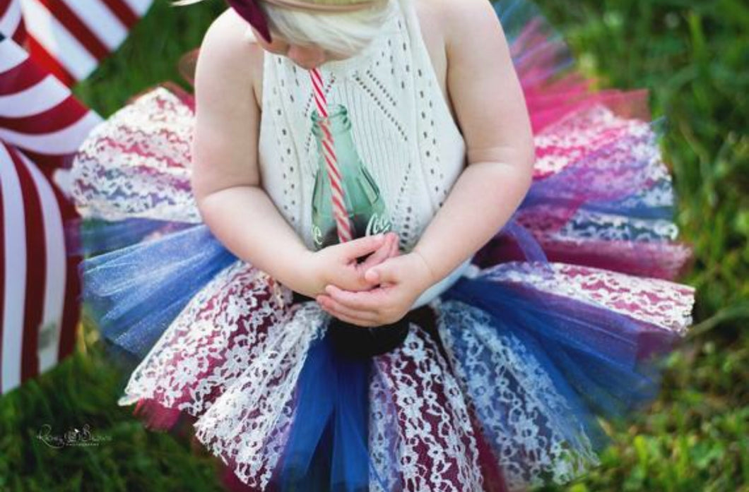 Vintage Inspired Lace Fourth Of July Tutu, Patriotic Tutu