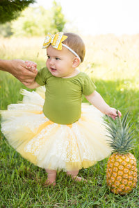 Daisy Sunflower Yellow And Ivory Lace Accent Tutu