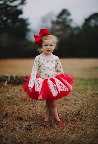 Red And Ivory Lace Accent Tutu