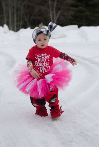 Fuchsia And White Lace Accent Tutu