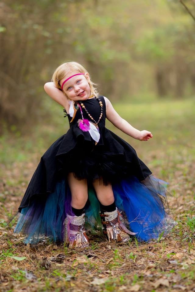 Jeweled Hi Low Tutu, Peacock High Low Tutu