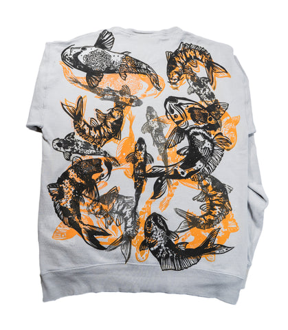 """Koi Pond"" Woodcut Printed Sweatshirt - Medium"