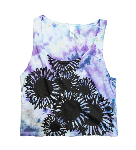 Sunflower Woodcut Tie-Dye Crop Tank