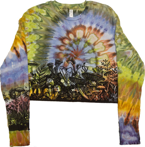 """Mushroom Garden"" Cropped Long Sleeve - Medium"
